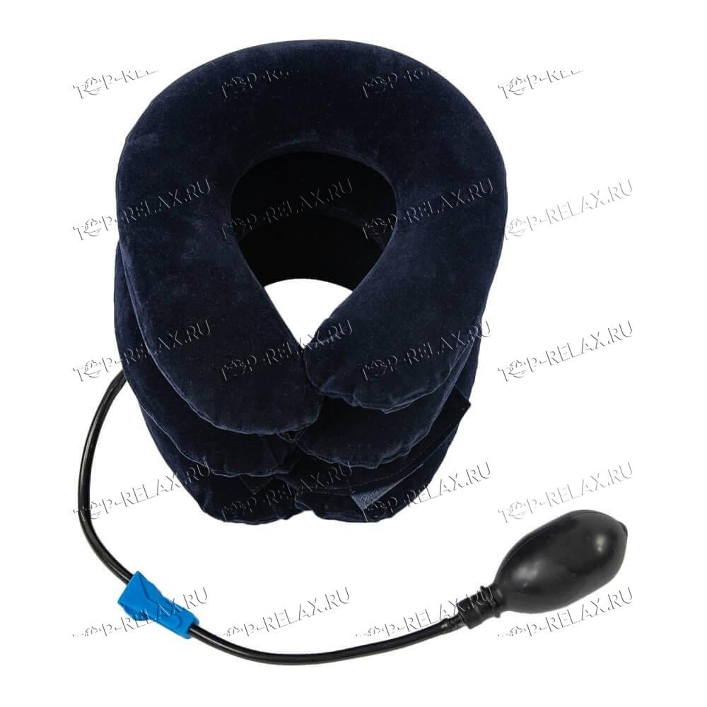 Надувной воротник для шеи флок синий