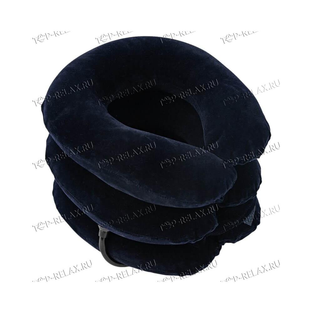 Надувной воротник для шеи флок синий - 2
